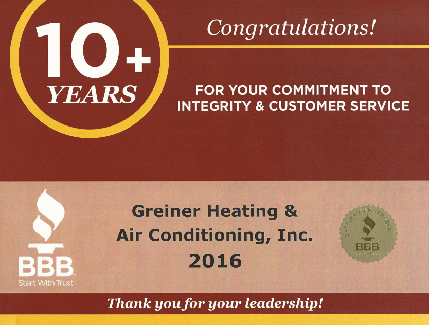 BBB award for Greiner Heating and Air Conditioning being a member for over 10 years!