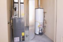 Furnace and water heater in a basement