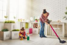 Greiner Heating and Air Conditioning, woman and child spring cleaning, CA