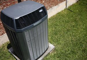 Central air conditioning unit outside of home in Dixon, California.