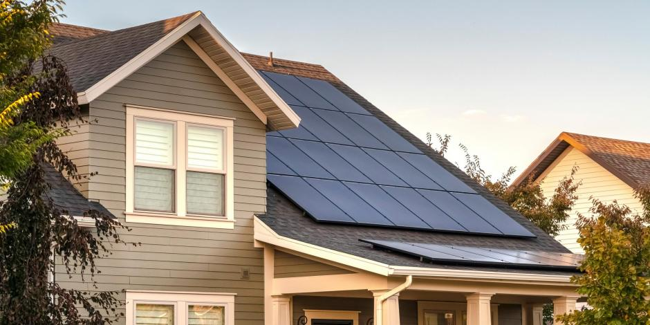 solar panels on grey home